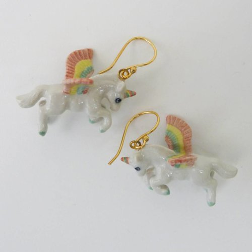 And Mary Unicorn pastel earrings hand painted porcelain