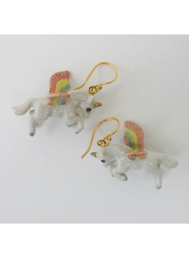 Unicorn pastel earrings hand painted porcelain