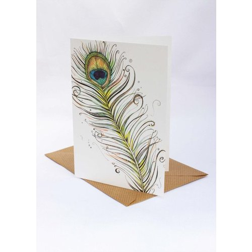 Sophie Cunningham Peacock Feather card 5 x 10 cm