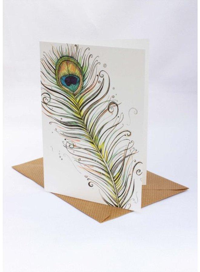 Peacock Feather card 5 x 10 cm
