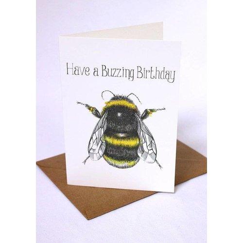 Sophie Cunningham Buzzing Birthday card 5 x 10 cm