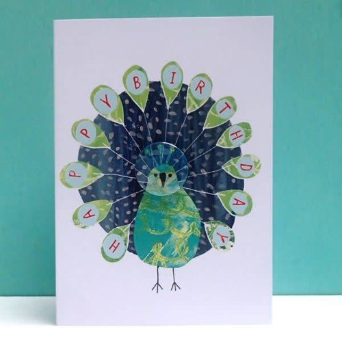 Black Rabbit Peacock Birthday Badge Card