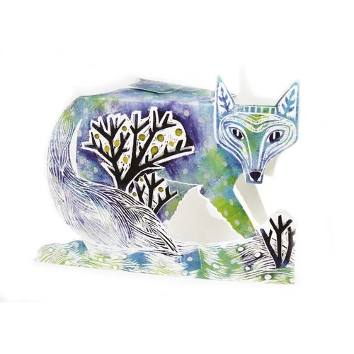 Judy Lumley Winter Fox 3D Card