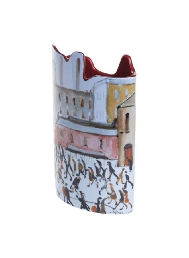 Lowry Going to Work Silhouette Art Vase