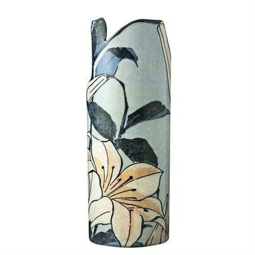 Dartington Crystal Ltd Jarrón de arte de silueta de lirios de Hokusai 100