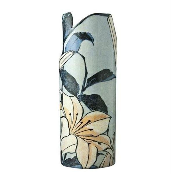Hokusai Lilies Silhouette Art Vase