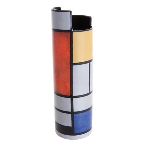 Dartington Crystal Ltd Mondrian Komposition mit roter Silhouette Art Vase 029