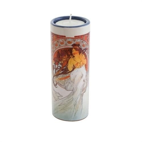 Dartington Crystal Ltd Mucha Las Artes Baile y MúsicaTea Light Holder Ceramic