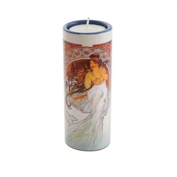 Mucha  The Arts Dance and MusicTea Light Holder Ceramic