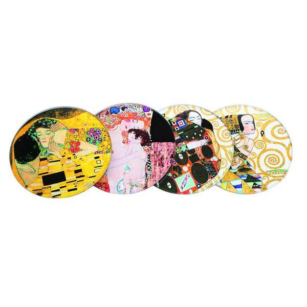 Klimt Set 4 glass coasters