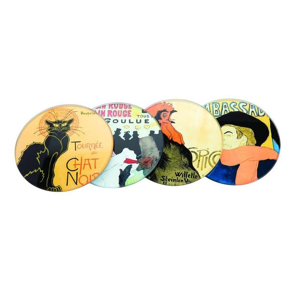 Parisian Posters Set 4 glass coasters