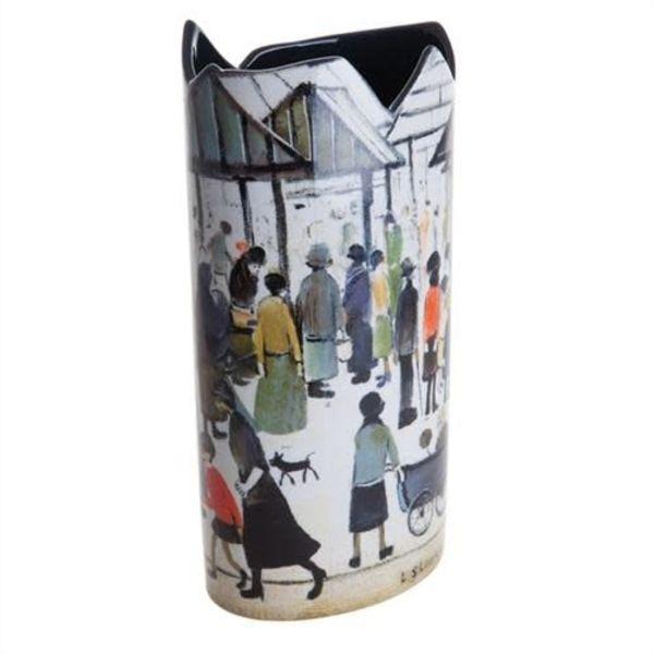 Lowry Market Scene Silhouette Art Vase