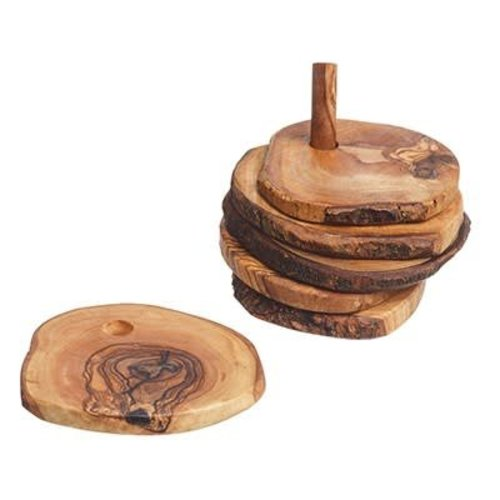 Naturally Med Rustic Olive Wood Coaster Set