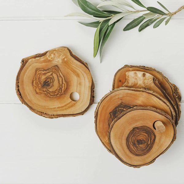 Rustic Olive Wood Coaster Set