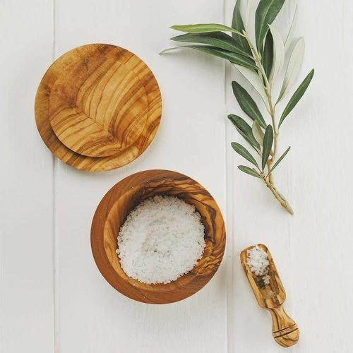 Naturally Med Olla de madera de olivo con sal o azúcar con tapa