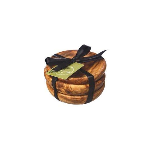 Naturally Med Juego de 3 recipientes de madera de olivo
