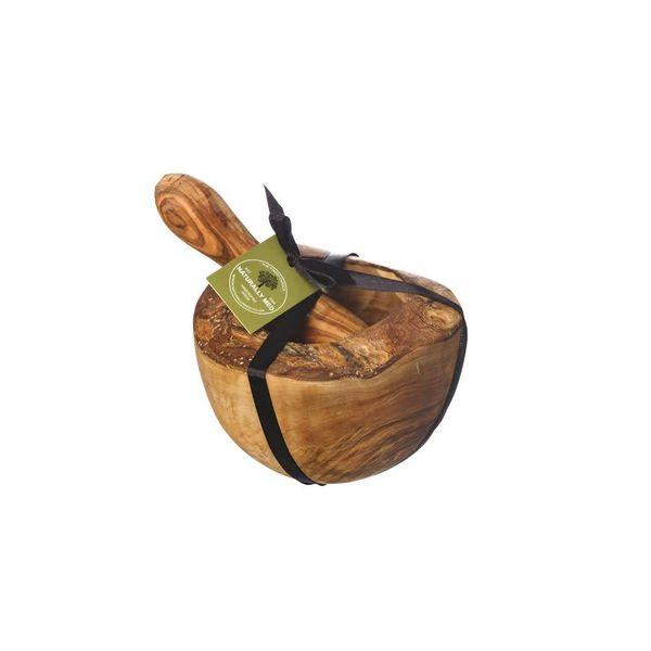 Juego de mortero y mortero de olivo rústico