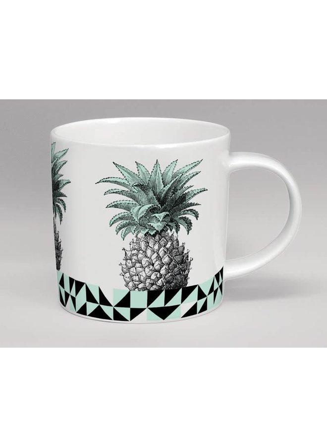 Treibhaus-Ananas-Minze u. Weiße Tasse