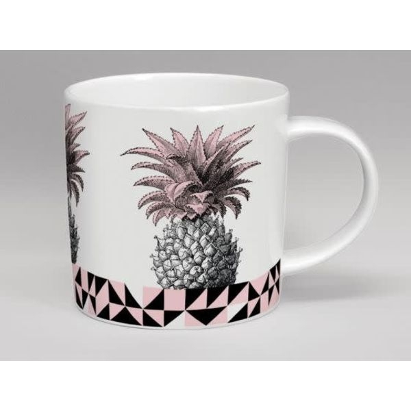 Hothouse Pineapple Pink & White Mug