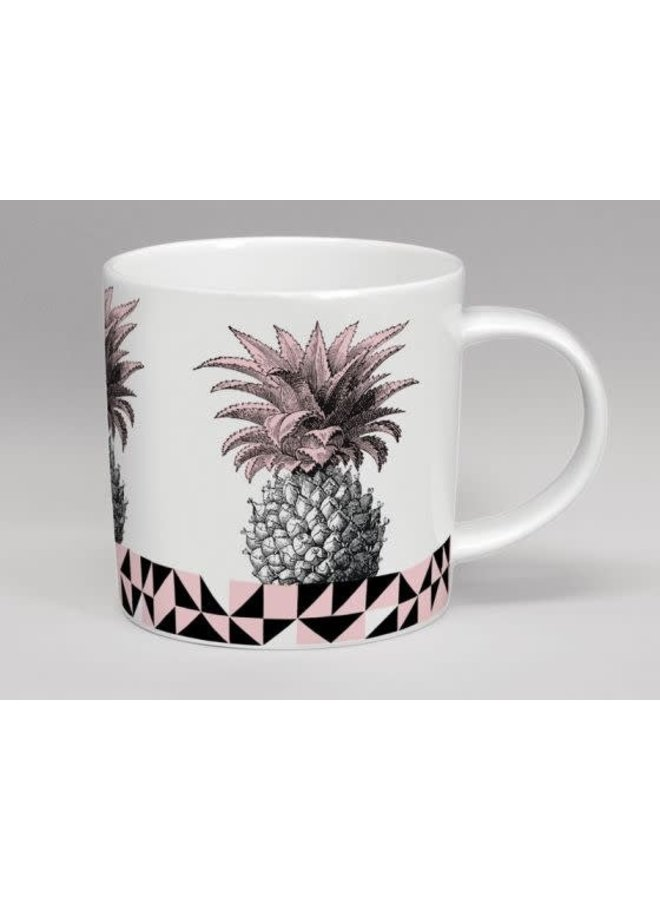 Treibhaus-Ananas-Rosa u. Weiße Tasse