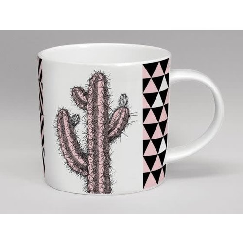 Repeat Repeat Hothouse Tall Cactus Pink & White Mug