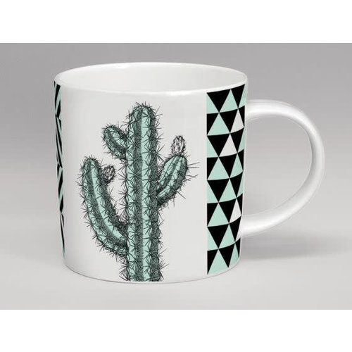 Repeat Repeat Hothouse Tall Cactus Mint & White Mug