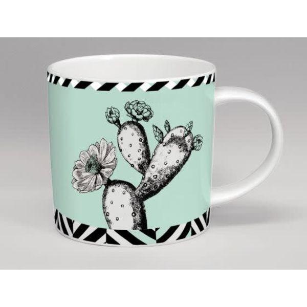 Taza de la menta de la flor del cactus del invernadero