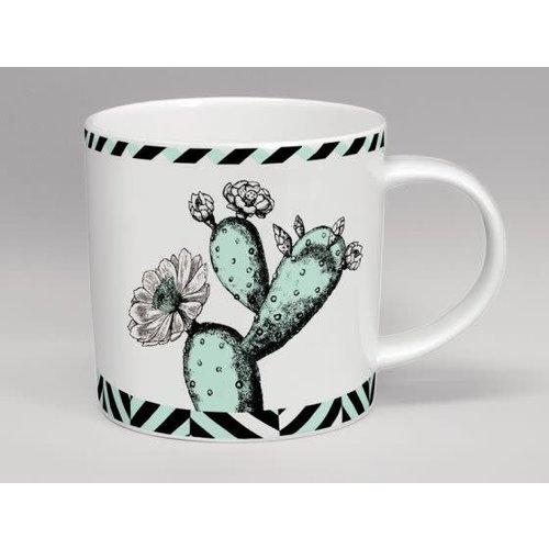 Repeat Repeat Menta de la flor del cactus del invernadero y taza blanca