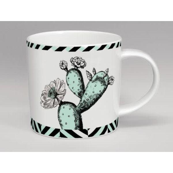 Menta de la flor del cactus del invernadero y taza blanca