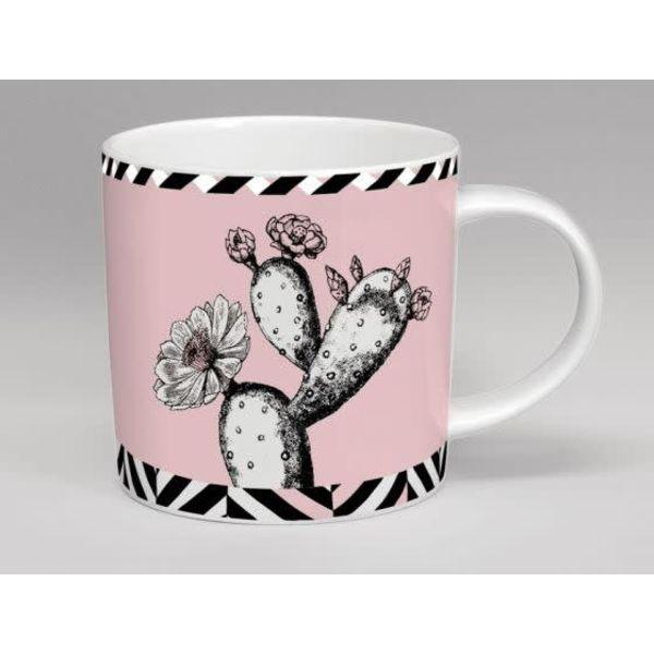 Taza del rosa de la flor del cactus del invernadero