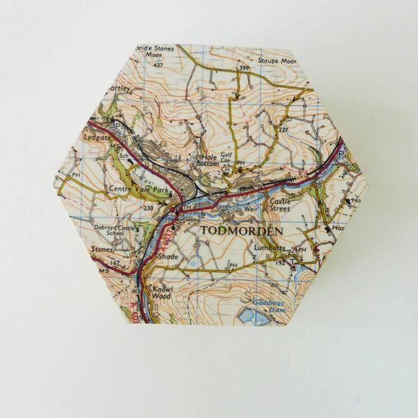 Todmorden Map Hexagon hinged Birch box
