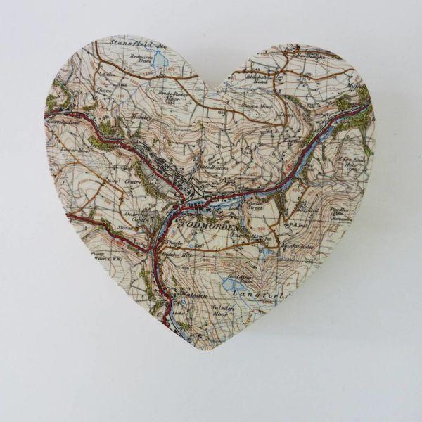 Map Heart Birch box Todmorden 13 x 13 x 5cm