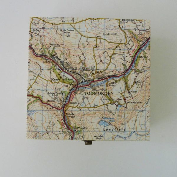 Map Square Birch box Todmorden 12 x 12 x 6cm