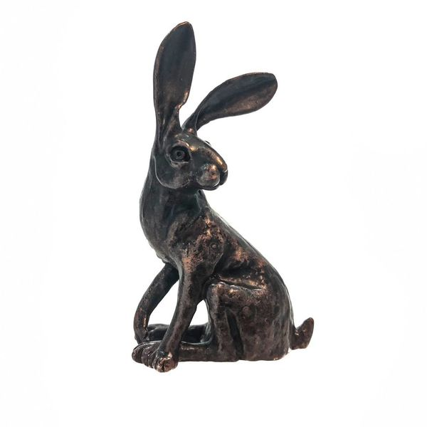 Sitting hare, bronze Miniature