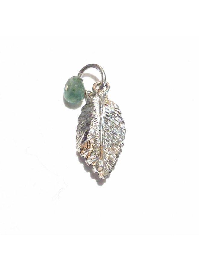 Leaf charm with crystal