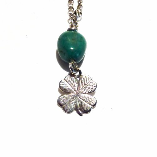 Lime Tree Design Shamrock turquoise charm necklace