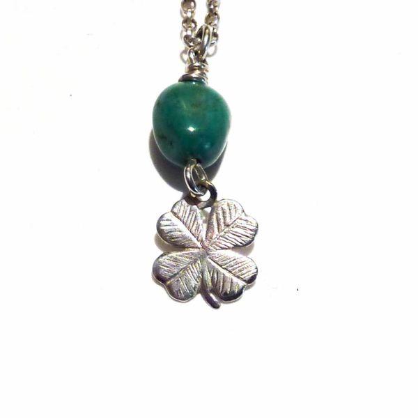 Shamrock turquoise charm necklace
