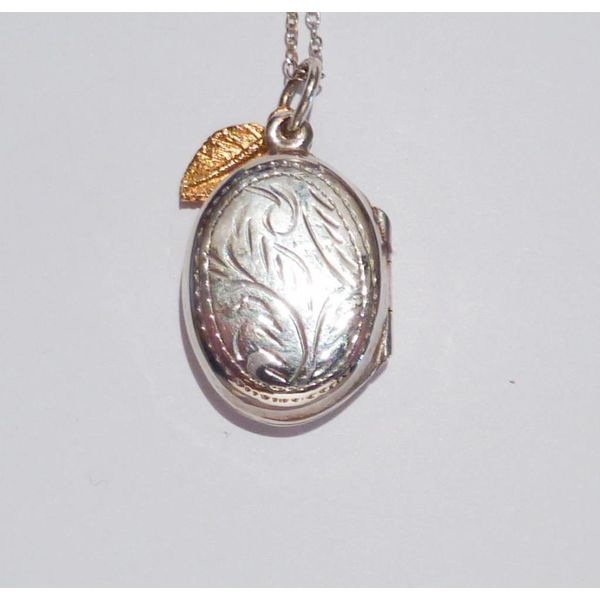 Engraved silver locket gold charm leaf necklace