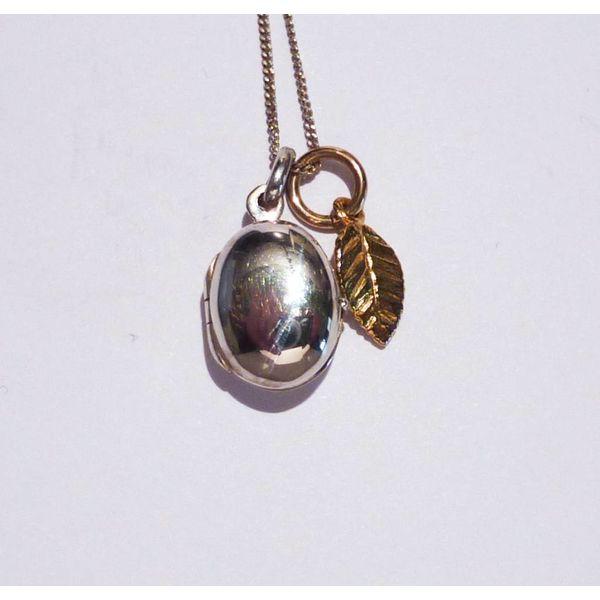Oval locket gold charm leaf necklace