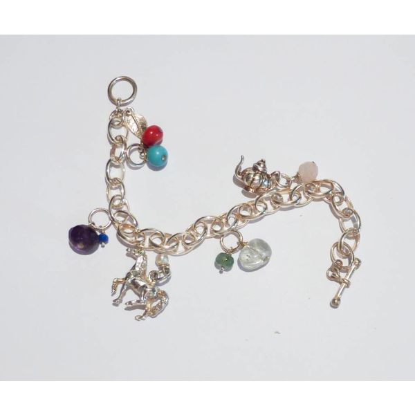 Silver Key charm with topaz gem