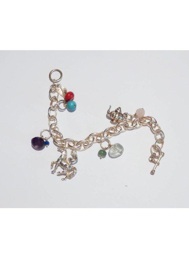 Key charm with topaz, silver