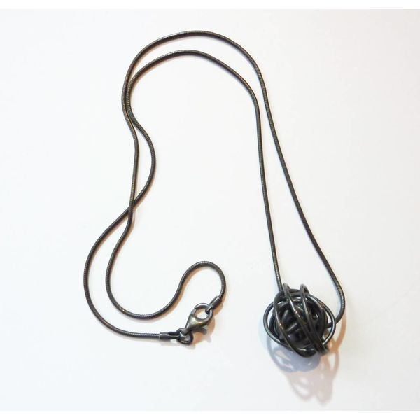 Ball necklace oxidised silver