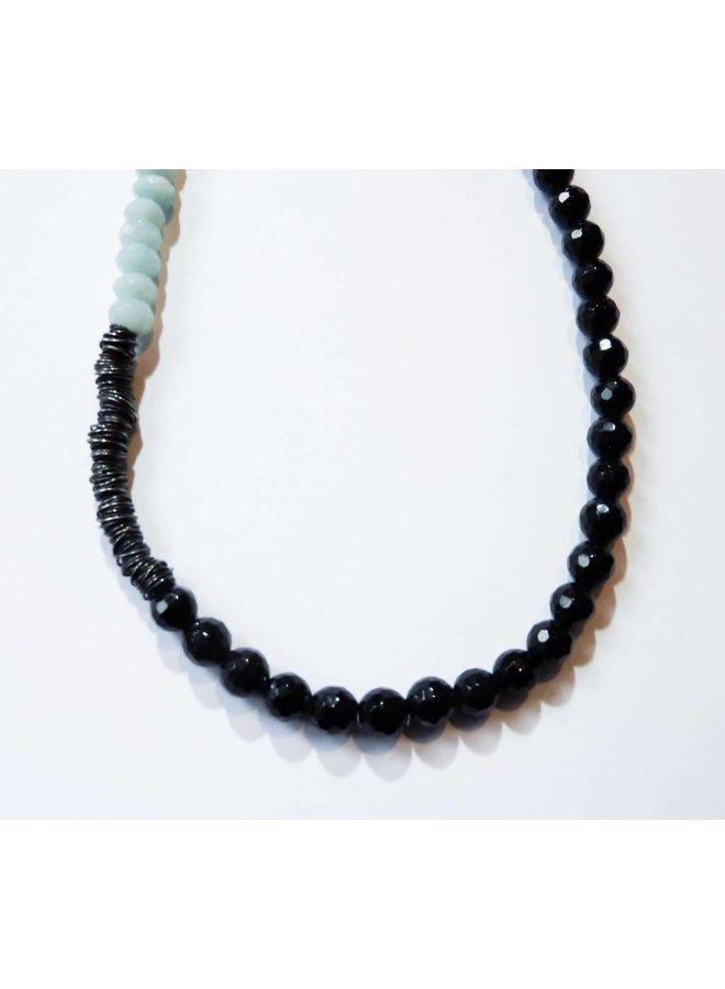 Oxidised silver with semi precious stones necklace