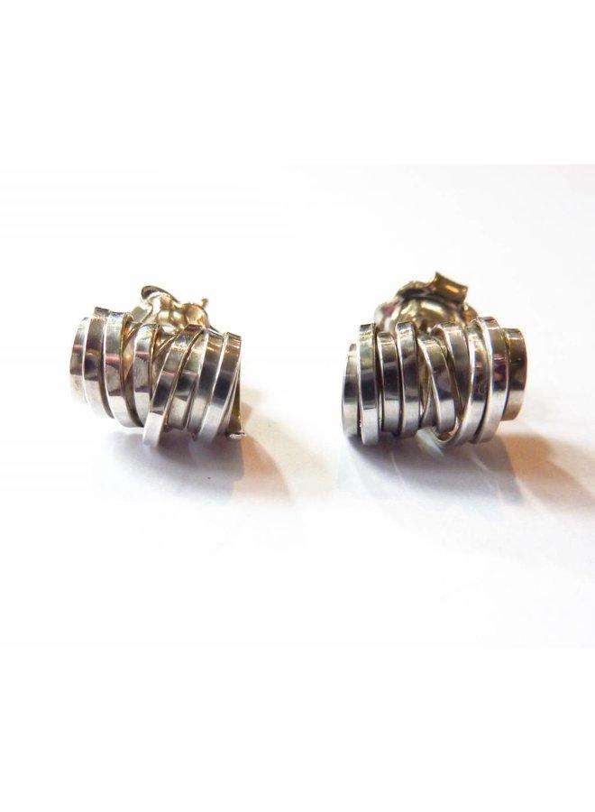 Coil silver stud earrings