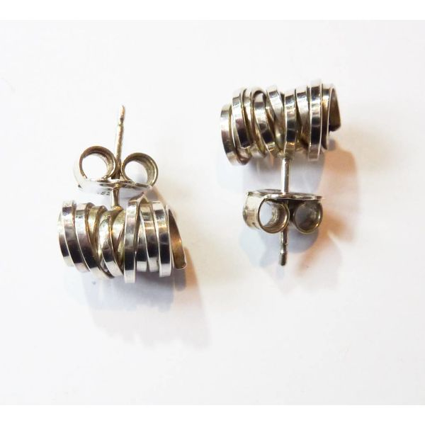 Coil silver stud earrings