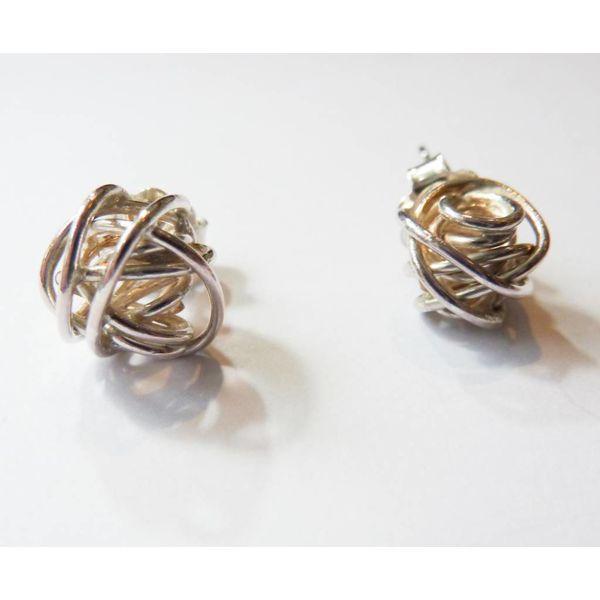 Ball silver stud earrings