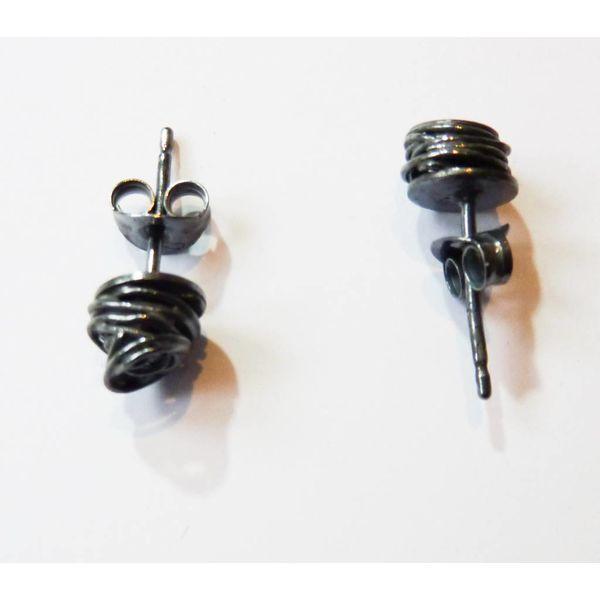 Wrap oxidised silver  stud earrings