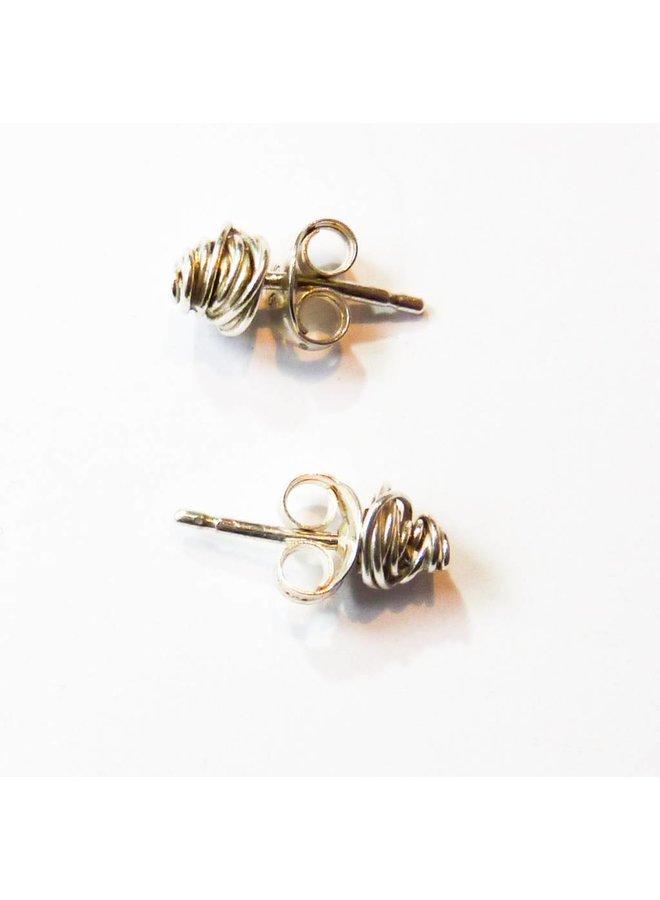 Tiny Wrap silver stud earrings
