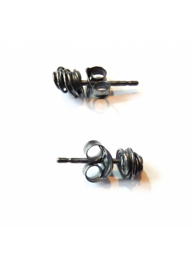 Tiny Wrap oxidised silver stud earrings