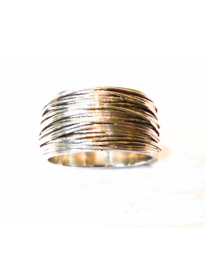 Thick wrap  silver ring